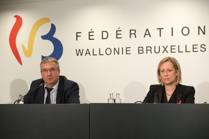 Le ministre-président de la Fédération Wallonie-Bruxelles, Pierre-Yves Jeholet, et la ministre de la Culture (FWB) Bénédicte Linard