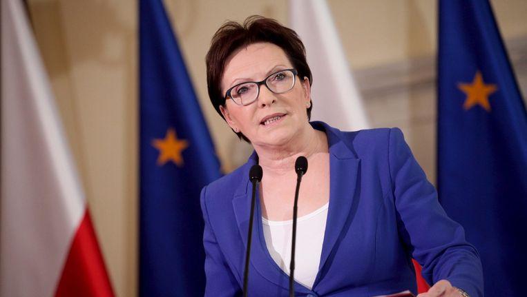 De Poolse premier Ewa Kopacz tijdens een persconferentie. Beeld reuters