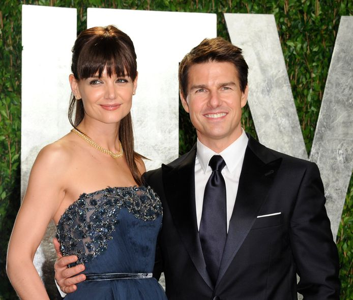 Katie Holmes en Tom Cruise in 2012, toen ze nog een koppel vormden.