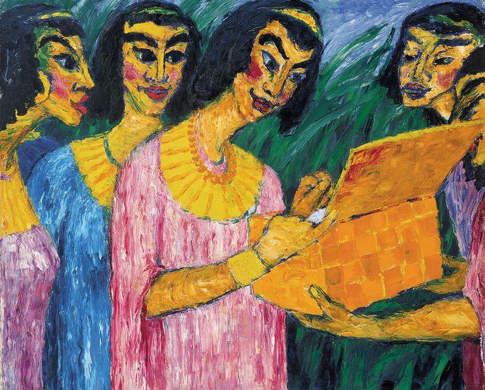 Een schilderij van Emil Nolde uit 1910, getiteld 'De dochter van de farao vindt Mozes'.
