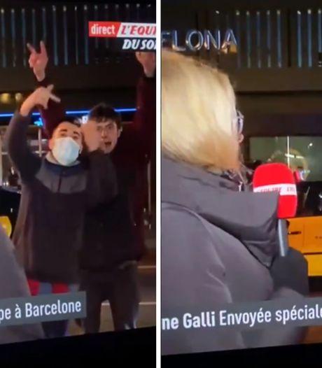 """Une journaliste française tacle les supporters du Barça qui perturbent son duplex: """"À part ces abrutis..."""""""