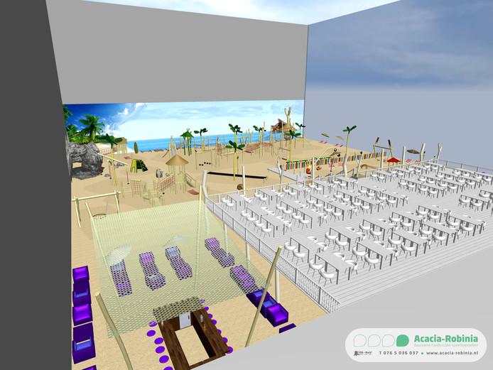Een eerste schets voor de inrichting van Kids Playa, het plan voor een binnenspeeltuin in Etten-Leur.