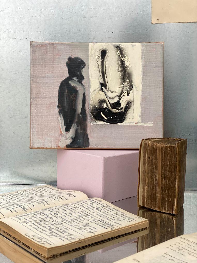 Werk van Paulina Olowska, alumna van 2001-2002, te zien op de tentoonstelling in de Rijksakademie. Beeld Rijksakademie