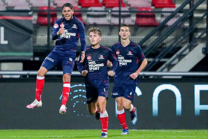 Karim Loukili schreeuwt het uit, nadat hij Helmond Sport in de 83ste minuut op gelijke hoogte schiet tegen NEC: 2-2.