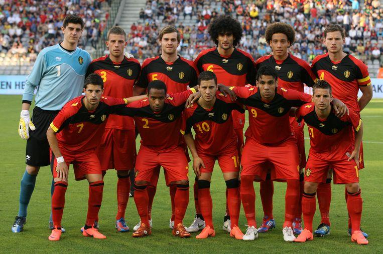 De Rode Duivels die het in een vriendschappelijke wedstrijd opnamen tegen Montenegro. Beeld BELGA