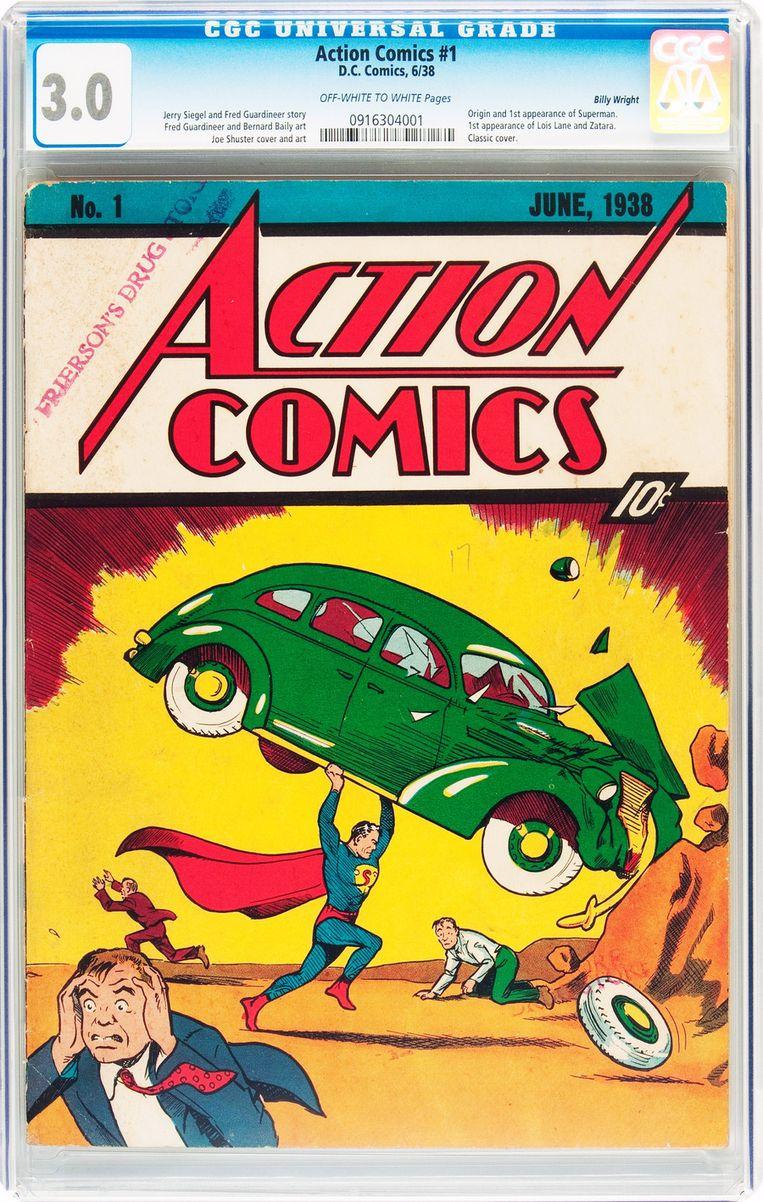 Action Comics nummer 1 (1938), waarin Superman voor het eerst te zien is. Beeld ap