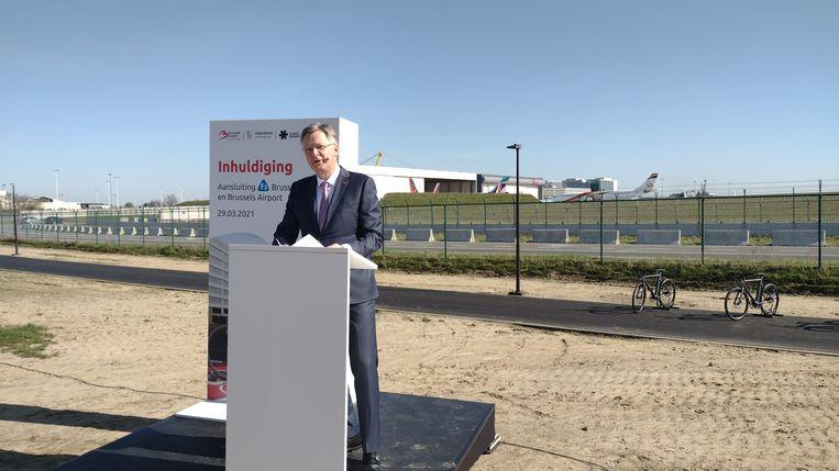 Arnaud Feist, CEO van Brussel Airport. Hier bij de inhuldiging van de fietsostrade naar de luchthaven. Beeld BELGA
