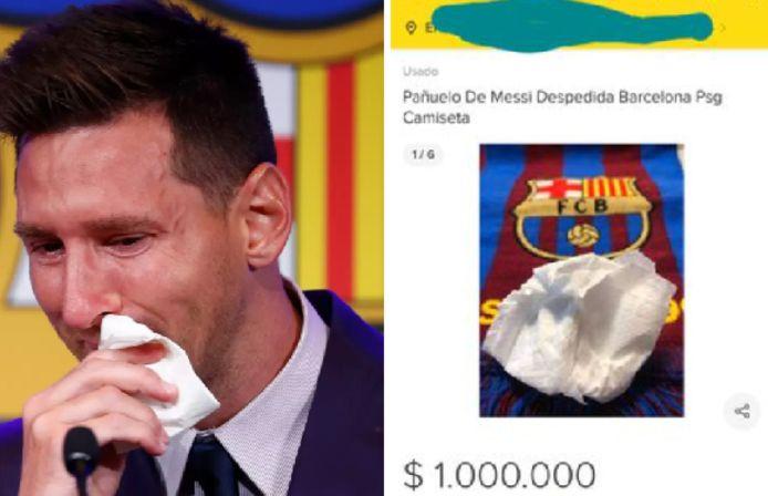 Lionel Messi a fondu en larmes en disant adieu au Barça. Le mouchoir qu'il a utilisé aurait été récupéré