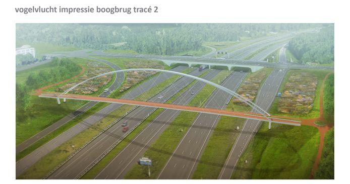 Een impressie van de nieuwe fietsersbrug over de A2/N2 ten zuiden van de Anthony Fokkerweg.
