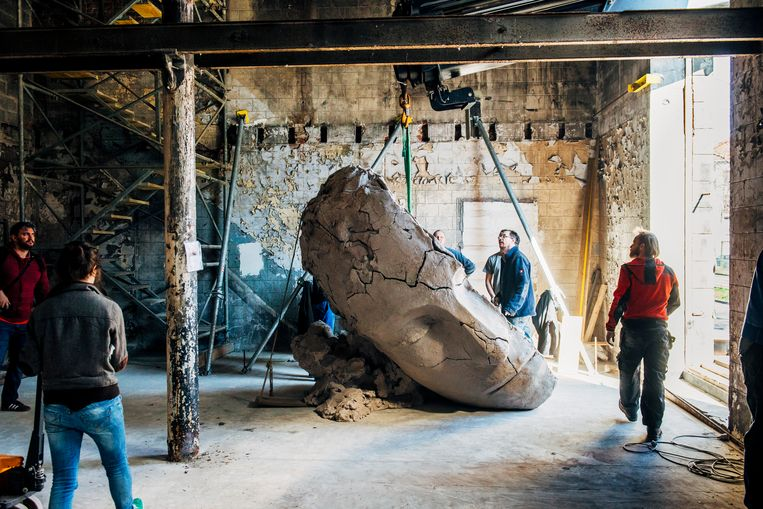 De werken van Mark Manders worden geleverd in Metropole, het derde en meest ruwe gebouw dat deel uitmaakt van de expo. De kunstenaar was er zelf ook bij (de man met de bril). Het meest spectaculaire werk: een hoofd van 1,4 ton. Beeld Stefaan Temmerman