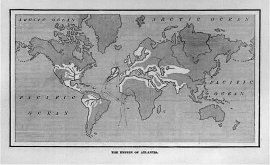 Een kaart van de plaats waar Atlantis volgens de meeste theorieën gelegen zou hebben: midden in de Atlantische oceaan. BRON WIKIPEDIA