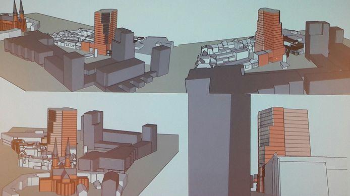 De vijfde en laatste, een volumstudie van twee gelinkte torens met afgeplatte zijden, bijna 70 meter hoog. Te dominant voor deze plek, aldus de Omgevingscommissie