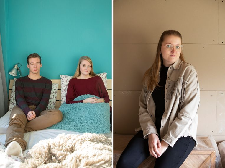 Jet Gertenaar vijf jaar geleden (met haar stiefbroer) en in 2021 Beeld Vivian Keulards
