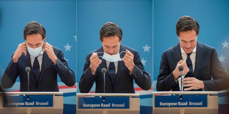 Premier Mark Rutte na afloop van de EU-top in december. De Europese leiders spraken er over onder meer het coronaherstelfonds. Beeld ANP