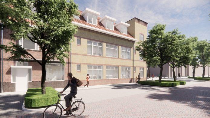 Conceptplan van Magis Vastgoed voor zalencentrum De Ambassadeur en d naastgelegen woning. Er is plaats voor 12 appartementen.