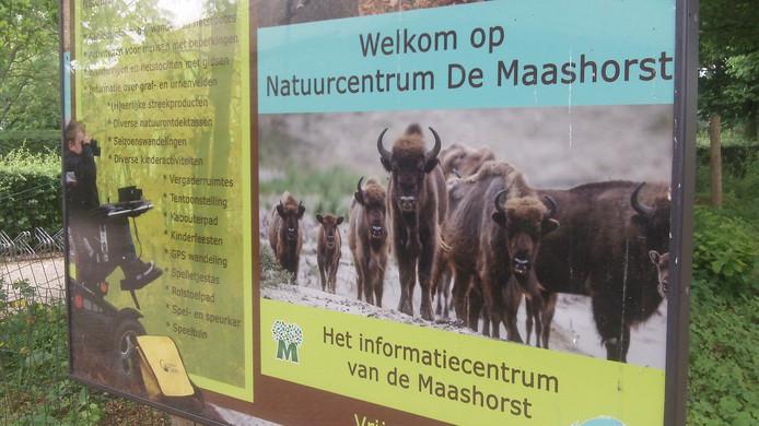 Welkomstbord bij natuurcentrum De Maashorst, in buurtschap Slabroek.