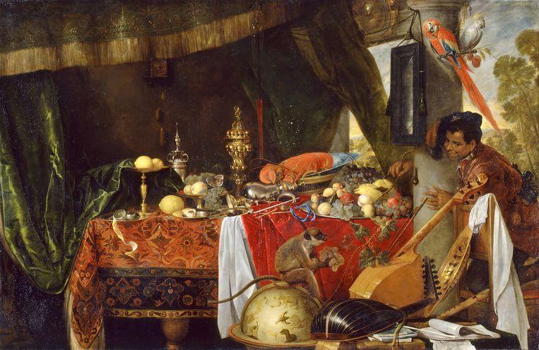 'Stilleven met Moor en papegaai', Jan Davidsz de Heem, 1641, hotel de Ville (Broodhuis), Brussel.  Beeld RV