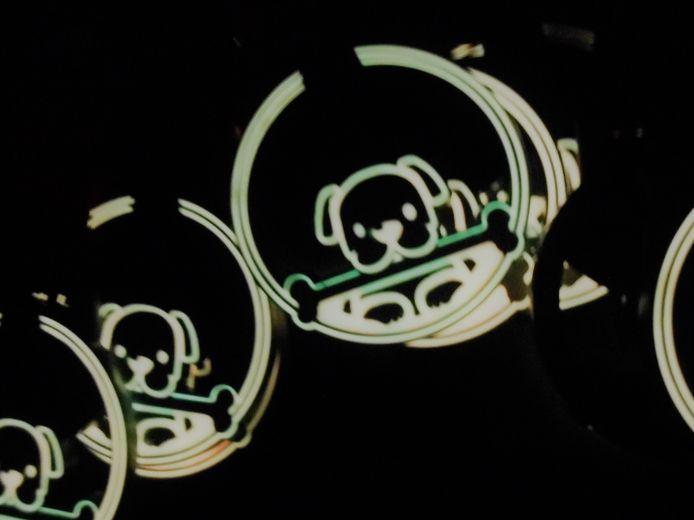 De speciale medailles voor honden, die in het donker oplichten