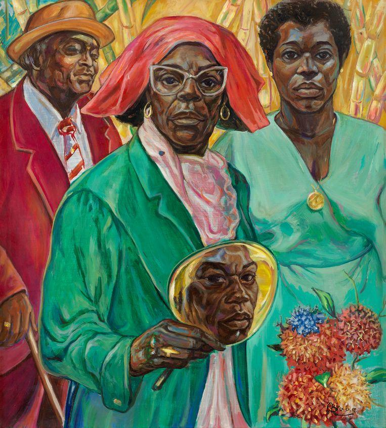 'Baag Family Portrait' van Armand Baag (1989). Collectie Joyce, Sura and Surina Baag, Amsterdam Beeld Stedelijk Museum Amsterdam