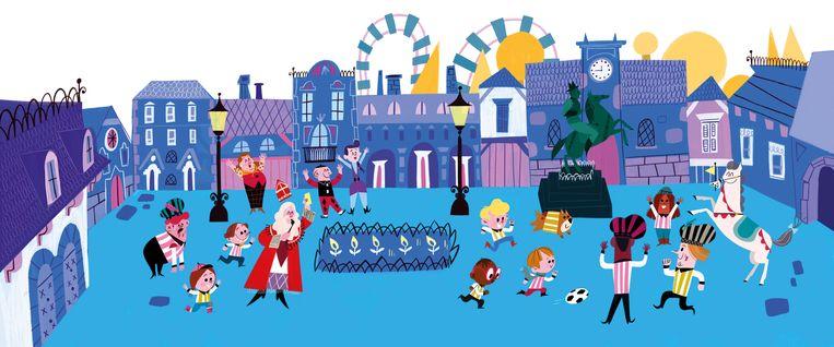 Het verhaal van Sint op de kermis werd bedacht door Rafael van der Vaart, de tekeningen zijn van de Spaanse illustrator Laura Brenlla.  Beeld Laura Brenlla