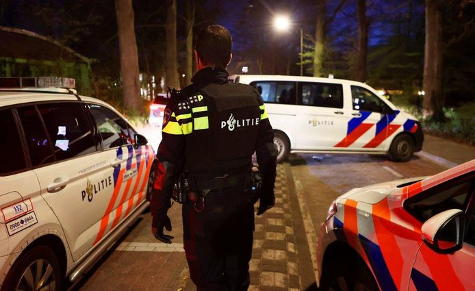 De politie was in grote getalen aanwezig in Vught.