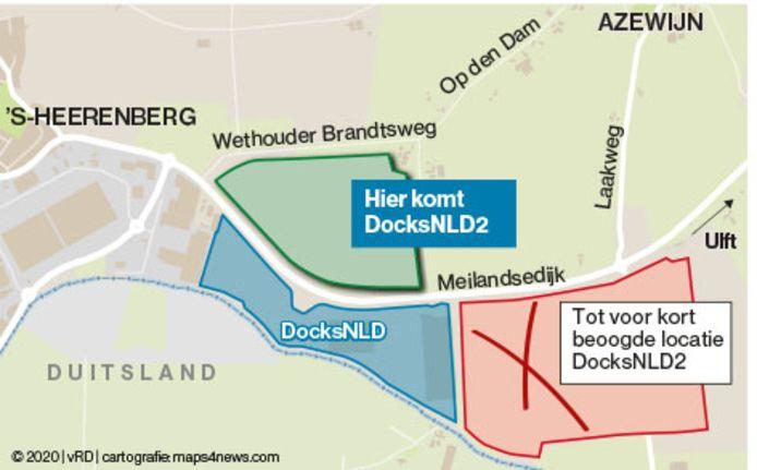 DocksNLD2 komt ten noorden van transportbedrijf Mainfreight. Rechts de kandidaatlocatie waar de gemeente Montferland jarenlang op inzette.