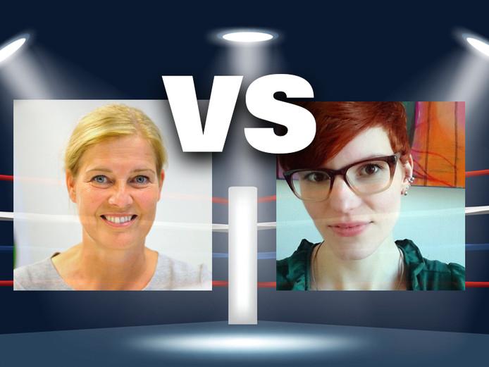 Jacqueline van Meurs (links) is voor vroeg beginnen met Engelse lessen, Lisetthe Jenneboer is tegen.