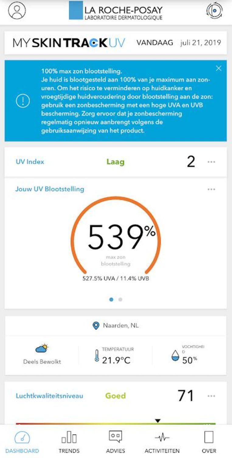De app van La Roche-Posay houdt niet bij of je bent ingesmeerd met afschrikwekkende percentages maximale zonneblootstelling tot gevolg. Beeld La Roche-Posay