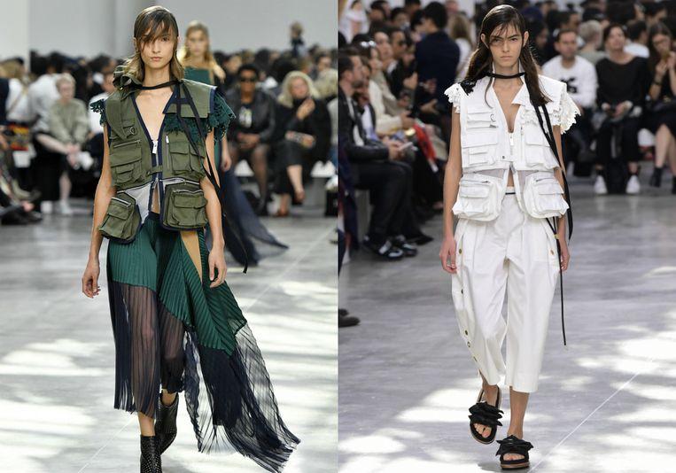 Modeshow van Sacai tijdens Paris Fashion Week.