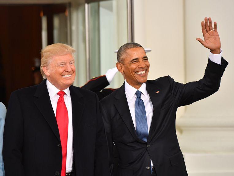De Amerikaanse presidenten Trump en Obama vlak voor de eedaflegging van Trump.
