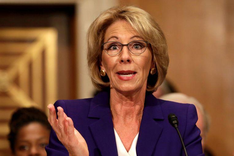 Betsy DeVos wordt de nieuwe Amerikaanse minister van Onderwijs. Beeld REUTERS