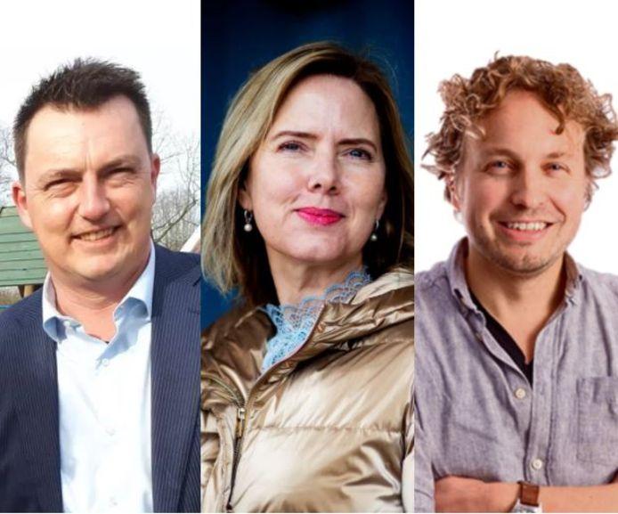 """Columnist Niels Herijgens feliciteert Paul de Beer (links, vertrekt als wethouder) en Cora van Nieuwenhuizen (midden, ex-minister) met hun nieuwe baantjes. ,,Joh, wij stellen wel weer opvolgers aan. Voor een paar maandjes."""""""
