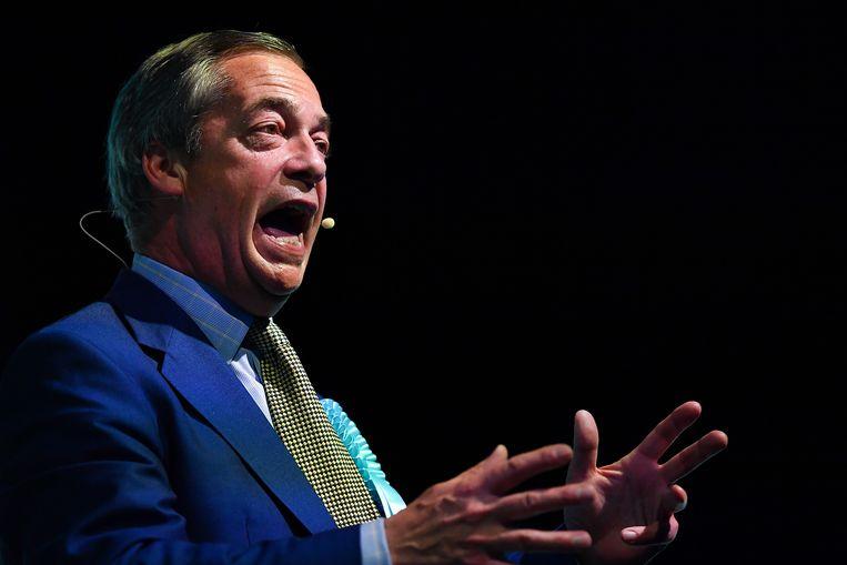 Nigel Farage tijdens een bijeenkomst van de brexitpartij in Edinburgh. Beeld Getty Images
