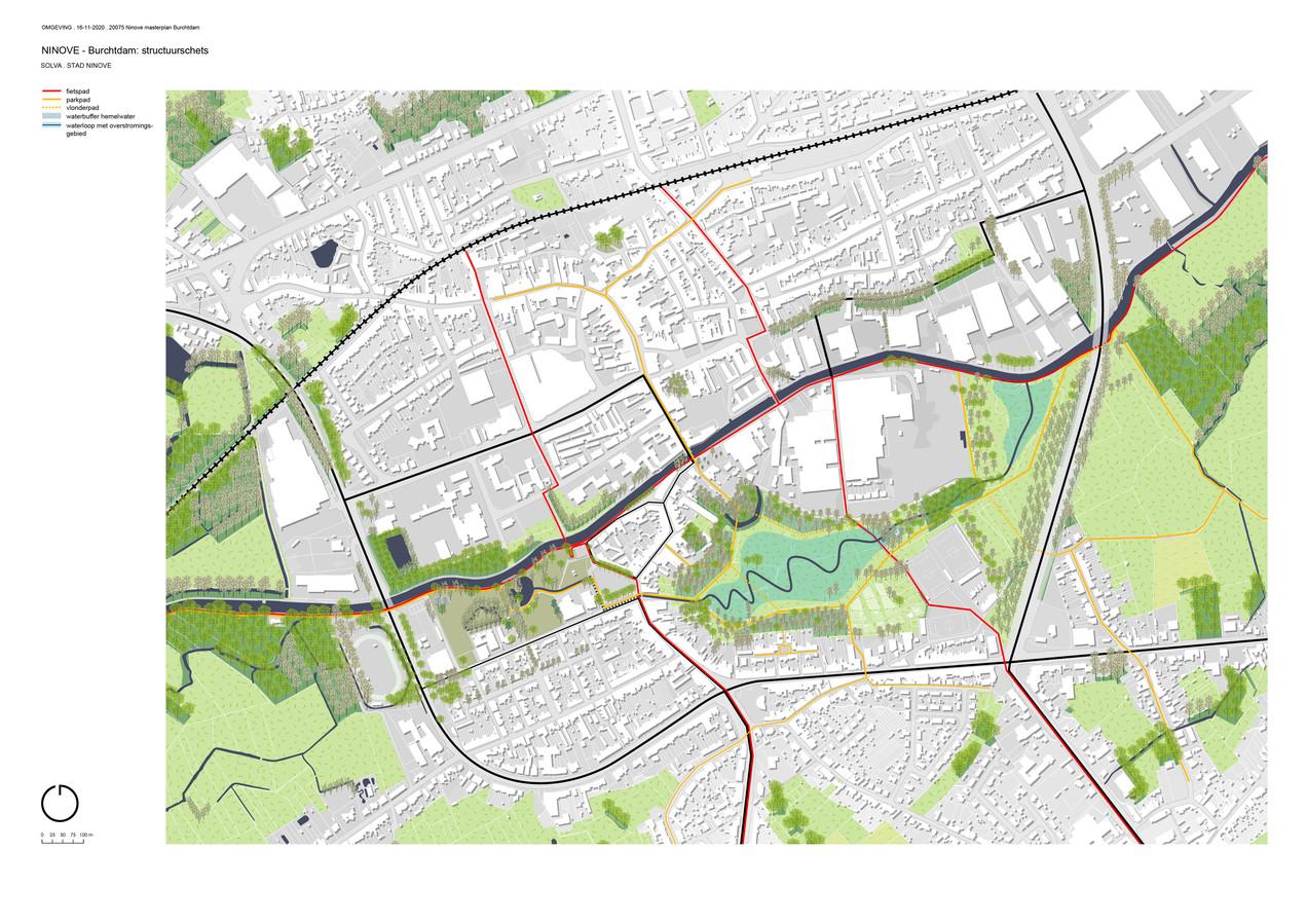 Het eerste ruwe ontwerp van het landschapspark Burchtdam.