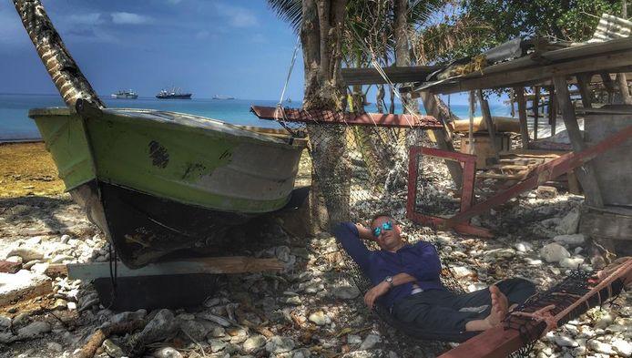 Even uitrusten in Tuvalu, een idyllische eilandengroep in de Grote Oceaan.