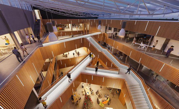 Een impressie van het nieuwe schoolgebouw. De renovatie wordt uitgevoerd door aannemerscombinatie Build2Learn. Het ontwerp is van En En Architecten uit Eindhoven en EGM uit Dordrecht.