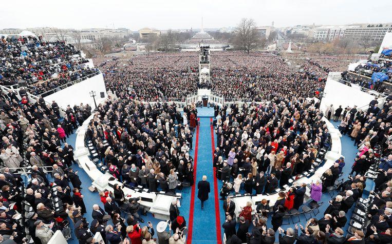 Trump bij zijn inauguratie op 20 januari 2017. Exact vier jaar later op 20 januari 2021, zal zijn eerste ambtstermijn aflopen. Beeld EPA