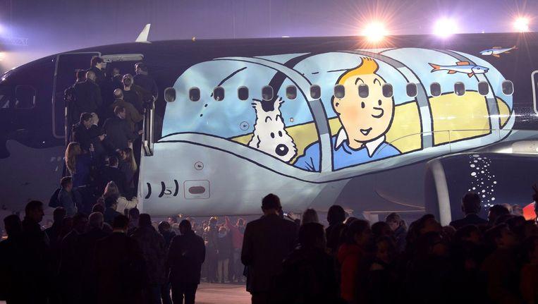 """Het SN Brussels Airlines vliegtuig """"Kuifje""""."""