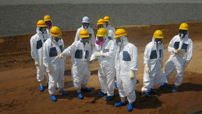 TEPCO-werknemers bij Fukushima.