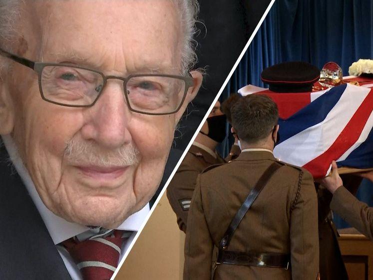 Militair afscheid voor kapitein Tom Moore die met rollator miljoenen ophaalde