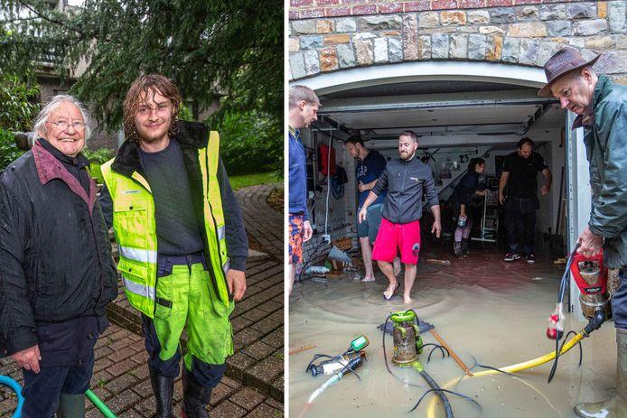 Andrea Borges en Dimitri Pitsaer kregen hulp van vrienden en buren (rechts) terwijl Sam Thibaut een tachtiger belangeloos ter hulp schoot (links).