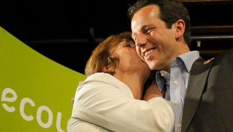Isabelle Durant en Jean-Michel Javaux vieren de overwinning. Beeld UNKNOWN
