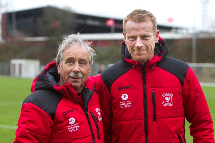 Het nieuwe trainersduo van GA Eagles: Jan van Staa (l) en Kick Maatman.