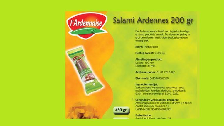 In oktober 2012 was er al een soortgelijke veroordeling voor de salami van TerBeke-Pluma uit Wommelgem (foto). Beeld kos