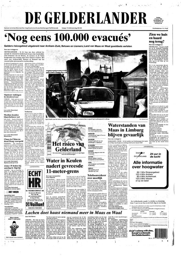 Voorpagina van de Gelderlander van 25 jaar geleden, 31 januari.