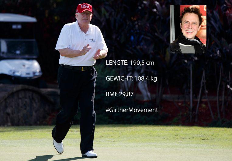 Donald Trump op de golfbaan van de International Golf Club in West Palm Beach in  Florida. Inzet: regisseur James Gunn. Beeld AP