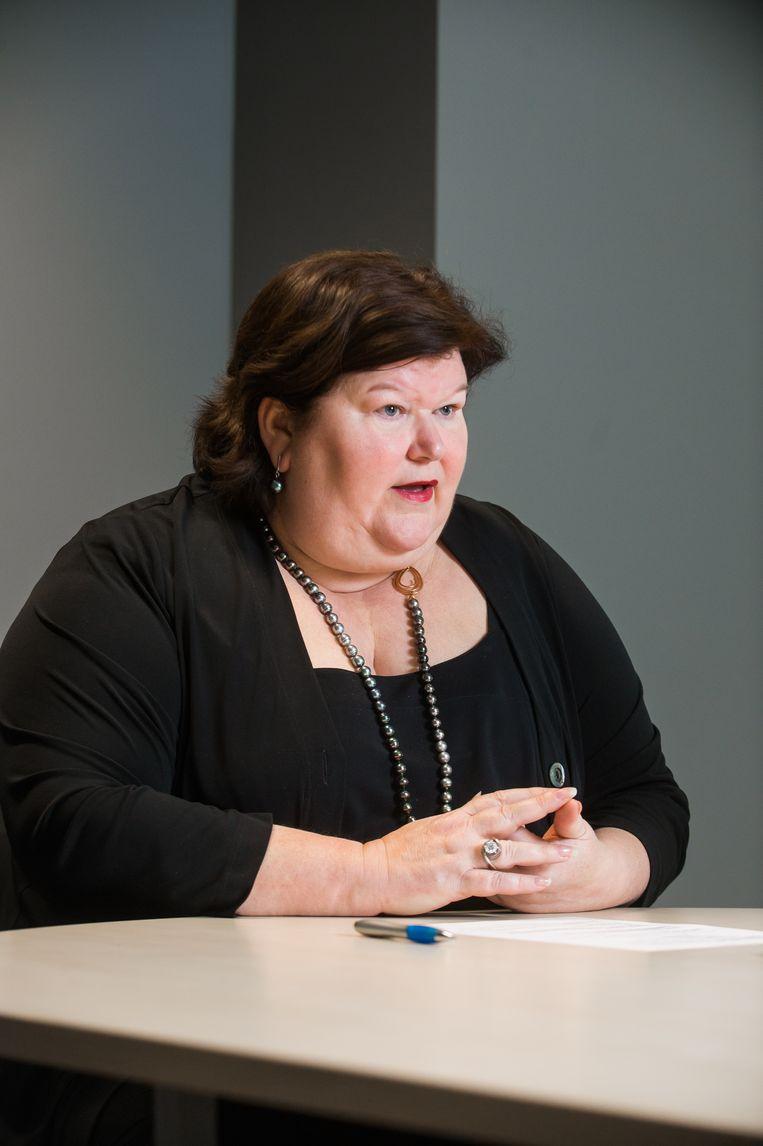 ► Minister van Volksgezondheid Maggie De Block (Open Vld) noemt de werkwijze in Leuven 'onwettig'. Beeld BELGIAN FREELANCE