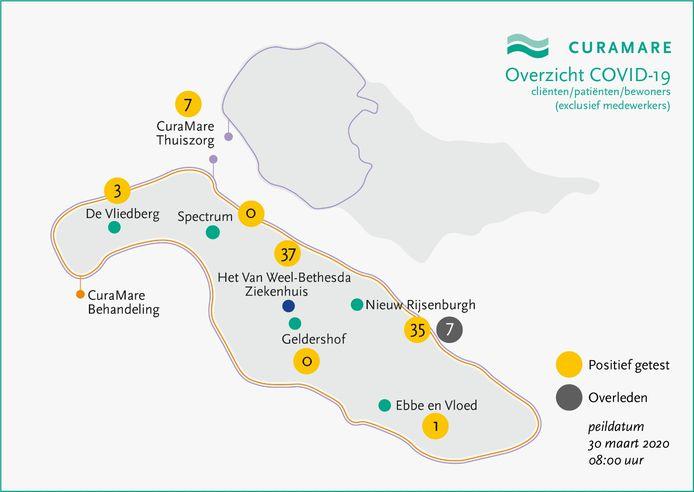Kaart van Goeree-Overflakkee met besmettingen bij de locaties van CuraMare.