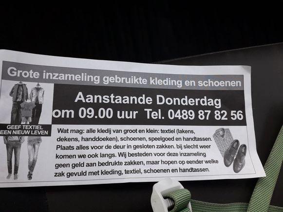 """Deze flyer werd in Temse in heel wat straten verspreid. """"Maar deze textielinzameling is illegaal"""", klinkt het bij de gemeente."""