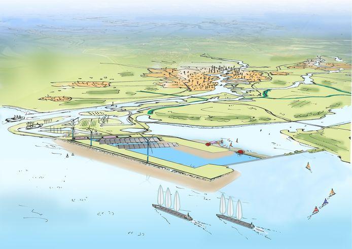 Impressie van het plan Delta21. In het verlengde van de Maasvlakte en voor de kust van Voorne-Putten en Goeree-Overflakkee komt een eiland met een stuwmeer met een oppervlakte van twintig vierkante kilometer.